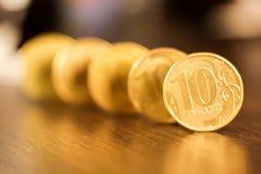 Комплект монеток русского рубля русский близкого фронта валюты новый вверх по взгляду Стоковые Изображения