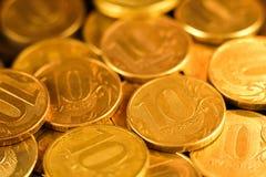 Комплект монеток русского рубля русский близкого фронта валюты новый вверх по взгляду Стоковое Фото