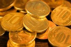 Комплект монеток русского рубля русский близкого фронта валюты новый вверх по взгляду Стоковое Изображение