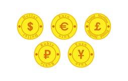 Комплект 5 монеток с символами валюты иллюстрация штока
