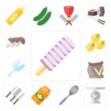 Комплект мороженого, масштаба, юркнет, мед, ножи, мука, стекло, Pis иллюстрация штока