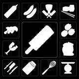 Комплект мороженого, масштаба, юркнет, мед, ножи, мука, стекло, Pis бесплатная иллюстрация
