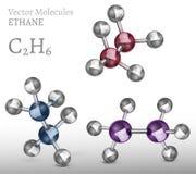 КОМПЛЕКТ молекулы этана иллюстрация штока