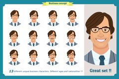 Комплект мужских лицевых эмоций плоский персонаж из мультфильма Бизнесмен в костюме и связи Бизнесмены в круглых значках Изолиров Стоковые Фото
