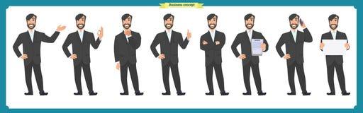 Комплект мужских лицевых эмоций плоский персонаж из мультфильма Бизнесмен в костюме и связи Бизнесмены в круглых значках вектор Стоковая Фотография