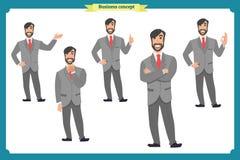 Комплект мужских лицевых эмоций плоский персонаж из мультфильма Бизнесмен в костюме и связи Бизнесмены в круглых значках вектор Стоковое Изображение