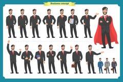 Комплект мужских лицевых эмоций плоский персонаж из мультфильма Бизнесмен в костюме и связи Бизнесмены в круглых значках вектор Стоковые Изображения RF