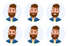 Комплект мужских лицевых эмоций Различные мужские установленные эмоции Характер emoji человека с различными выражениями Стоковая Фотография RF