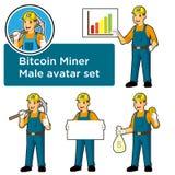 Комплект мужского талисмана горнорабочей bitcoin изолировал дизайн характера с различными представлениями Стоковые Изображения RF