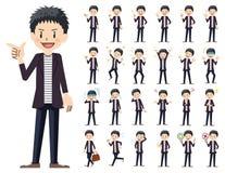 Комплект мужского характера Различные представления и эмоции иллюстрация штока