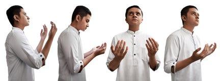 Комплект мусульманского человека молит Стоковое фото RF