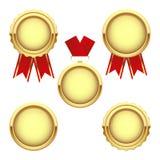 Комплект наград золотой медали, трофей вектора Стоковые Изображения
