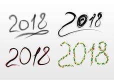 Комплект надписей 2018 в формате CDR иллюстрация штока