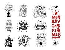 Комплект 10 надписей рождества с литерностью счастливое Новый Год Утеха, влюбленность, мир Весело и ярко От моего дома к бесплатная иллюстрация
