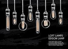 Комплект нарисованный рукой различных геометрических ламп просторной квартиры Стоковое Изображение