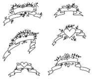 Комплект нарисованный рукой рамок с сердцами и цветками Стоковые Изображения RF