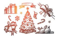Комплект нарисованный рукой элементов украшения рождества бесплатная иллюстрация