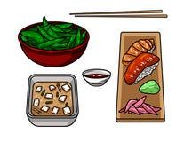 Комплект нарисованных вручную графических объектов азиатской еды Иллюстрация штока