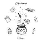 Комплект нарисованных рукой бутылок алхимии вектора Черный план зелиь, пробирок, трав, книг, грибов и котла иллюстрация штока