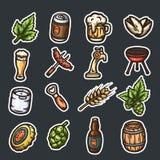 Комплект нарисованных рукой значков пива Стоковая Фотография