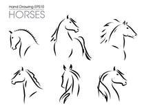 Комплект нарисованных рукой силуэтов лошадей вектора Стоковая Фотография