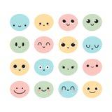 Комплект нарисованных рукой смешных сторон шаржа Установленные выражения лица эскиза Счастливые персонажи из мультфильма doodle Стоковые Фото