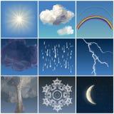 Комплект неба погоды низкий поли Иллюстрация штока