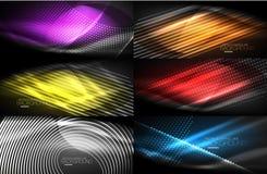 Комплект неонового приглаживает предпосылки волны цифровые абстрактные иллюстрация вектора