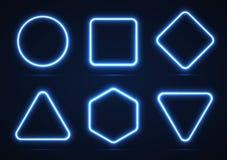 Комплект неоновых геометрических форм Стоковое Изображение RF