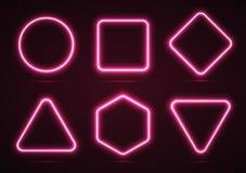 Комплект неоновых геометрических форм Стоковое Изображение