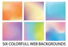 Комплект 6 новых современных предпосылок градиента стоковые изображения