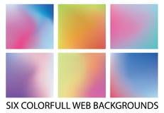 Комплект 6 новых современных предпосылок градиента стоковое изображение