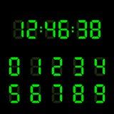 Комплект номера цифровых часов Электронные диаграммы также вектор иллюстрации притяжки corel иллюстрация вектора