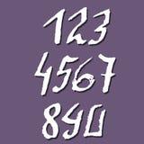 Комплект номеров ручки каллиграфических чернил старых Текстурированная готическая литерность также вектор иллюстрации притяжки co Стоковые Фотографии RF