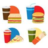 Комплект обеда фаст-фуда бесплатная иллюстрация