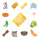 Комплект обломоков, хот-дог, шар, мука, перец, цветная капуста, горохи, I бесплатная иллюстрация