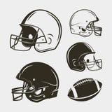 Комплект оборудования и шестерни американского футбола Шлемы и шарик также вектор иллюстрации притяжки corel иллюстрация вектора