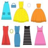 Комплект одежды и аксессуаров женщин в стиле шестидесятых годов Стоковые Изображения RF