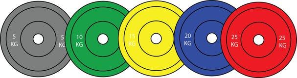 Комплект олимпийских плит поднятия тяжестей Стоковые Изображения