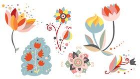 Комплект орнаментальных цветков Стоковое Изображение