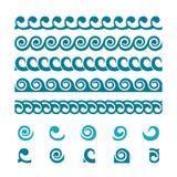 Комплект орнаментов границы волны иллюстрация штока