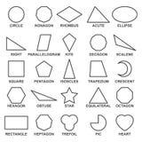 Комплект основных геометрических форм Предварительные математически концепции для алгебры и геометрии Стоковые Изображения