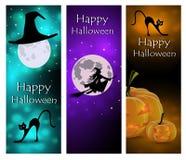 Комплект открытки на хеллоуин с тыквами, котами и луной иллюстрация вектора