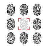 Комплект отпечатка пальцев вектора Отпечаток пальцев человека Значок знака злодеяния безопасностью Человеческий id иллюстрация вектора
