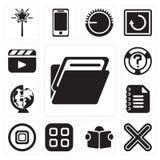 Комплект папки, умножит, читающ, меню, стоп, блокнот, всемирно иллюстрация штока
