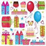 комплект партии дня рождения цветастый Стоковые Фото