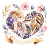 Комплект пера картин акварели нарисованный рукой живой Стиль Boho оперяется форма сердца Иллюстрация влюбленности изолированная д Стоковое Изображение