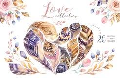 Комплект пера картин акварели нарисованный рукой живой Стиль Boho оперяется форма сердца Иллюстрация влюбленности изолированная д Стоковая Фотография
