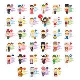 Комплект персонажей из мультфильма говоря здравствуйте! и гостеприимсво в 34 языках поговоренных в Европе иллюстрация штока