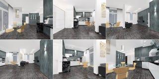 Комплект перспектив - интерьер квартиры - студия в сравнивать и современный дизайне 3d стоковые изображения rf
